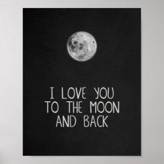 私は月および背部月ポスター芸術に愛します ポスター