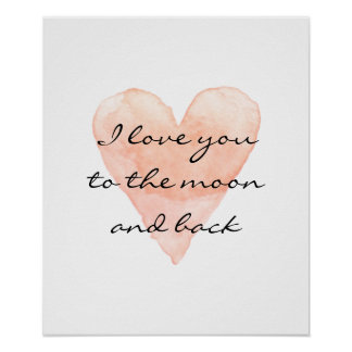 私は月および背部水彩画ポスターに愛します ポスター