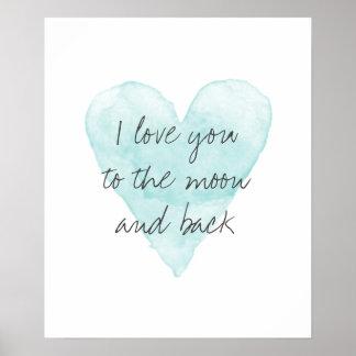 私は月および背部水色ポスターに愛します ポスター