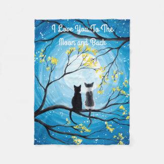 私は月および背部猫に愛します フリースブランケット