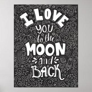 私は月および背部素朴な黒板に愛します ポスター