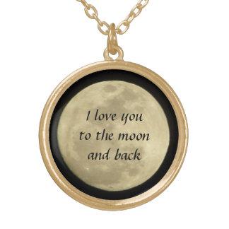 私は月および背部金ゴールドのネックレスに愛します ゴールドプレートネックレス