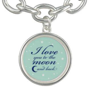私は月および背部魅力のブレスレットに愛します チャームブレスレット