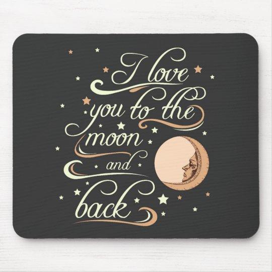 私は月および背部黒に愛します マウスパッド