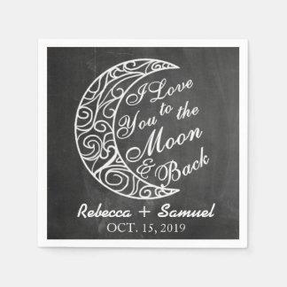 """""""私は月および背部""""カスタムな結婚式に愛します スタンダードカクテルナプキン"""
