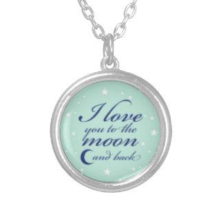 """""""私は月および背部""""ネックレスに愛します シルバープレートネックレス"""