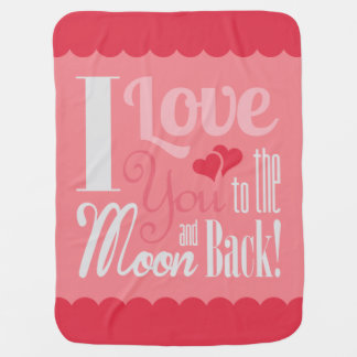私は月および背部(女の子のベビー)に愛します ベビー ブランケット