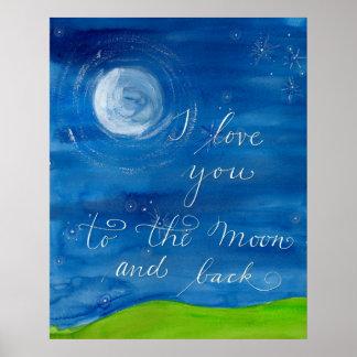 """""""私は月および背部""""愛にポスター愛します ポスター"""