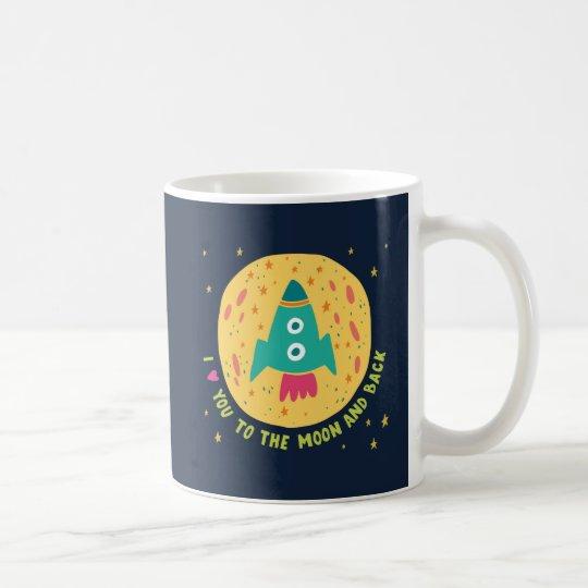 私は月および背部Rocketshipに愛します コーヒーマグカップ