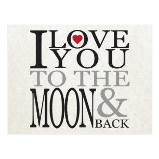 私は月及び背部に愛します ポストカード