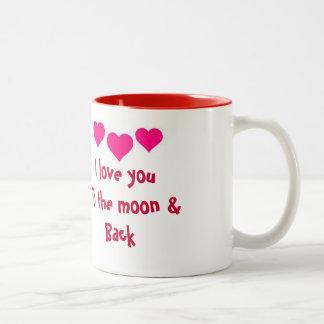 私は月及び背部マグに愛します ツートーンマグカップ