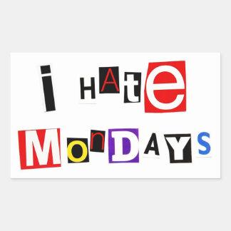 私は月曜日のステッカーを憎みます 長方形シール