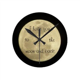 私は月ancの背部時計に愛します ラウンド壁時計