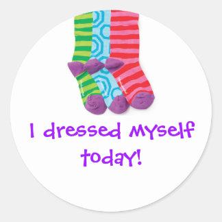 """""""私は服を着せました自分自身に"""" ラウンドシール"""