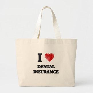 私は歯科保険を愛します ラージトートバッグ