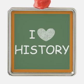 私は歴史を愛します シルバーカラー正方形オーナメント