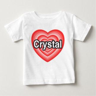 私は水晶を愛します。 私は水晶愛します。 ハート ベビーTシャツ