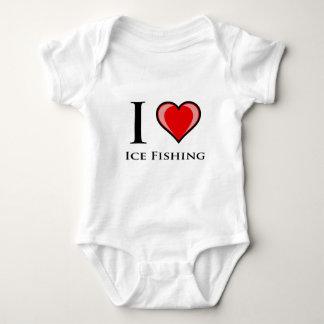 私は氷の魚釣りを愛します ベビーボディスーツ