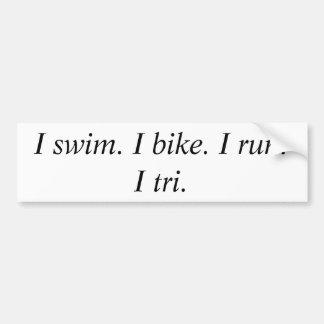 私は泳ぎます。 私は自転車に乗ります。 走られるI。      三I バンパーステッカー