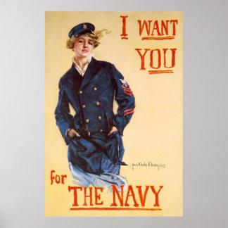私は海軍のためのほしいと思います ポスター