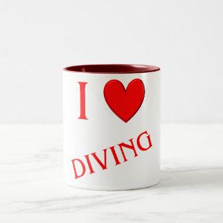 私は潜ることを愛します ツートーンマグカップ