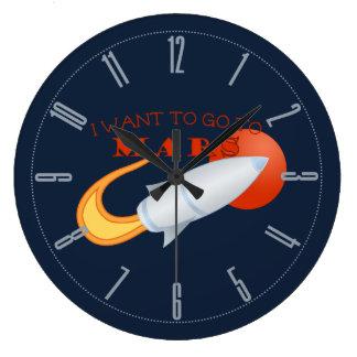 私は火星に行きたいと思います ラージ壁時計