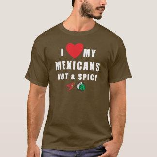 私は熱い私のメキシコ人及びぴりっとするTシャツを愛します Tシャツ