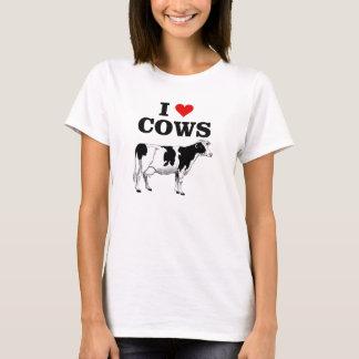 私は牛おもしろいのTシャツを愛します Tシャツ