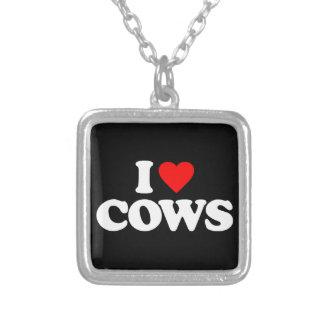 私は牛を愛します シルバープレートネックレス