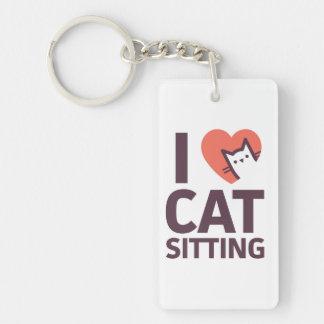私は猫のモデルを愛します キーホルダー