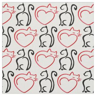 私は猫を愛します! (白の黒くおよび赤い輪郭) ファブリック