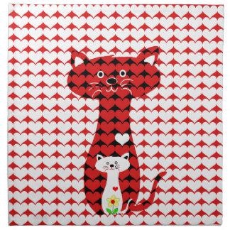 私は猫2を愛します ナプキンクロス