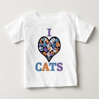 私は猫-コラージュのハート--を愛します ベビーTシャツ