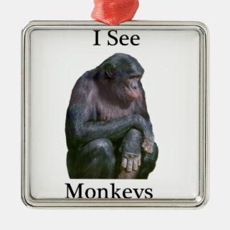 私は猿を見ます メタルオーナメント
