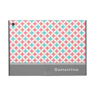 私は珊瑚のティール(緑がかった色)灰色パターン名前をカスタムするにパッドを入れます iPad MINI ケース