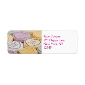 私は甘いキャンデーのバレンタインのハート永久に愛します ラベル