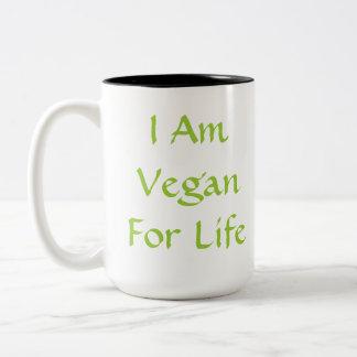 私は生命のビーガンです。 緑。 スローガン。 カスタム ツートーンマグカップ
