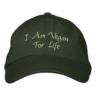 私は生命のビーガンです。 緑。 スローガン。 カスタム 刺繍入りキャップ