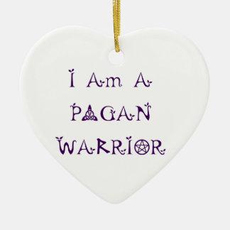 私は異教のな戦士です 陶器製ハート型オーナメント