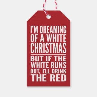 私は白いですか赤ワインChrismtasの夢を見ています ギフトタグ