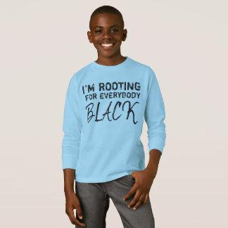 """""""私は皆を青い黒い""""男の子応援しています Tシャツ"""