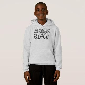 """""""私は皆を黒い""""男の子のフード付きスウェットシャツ応援しています"""
