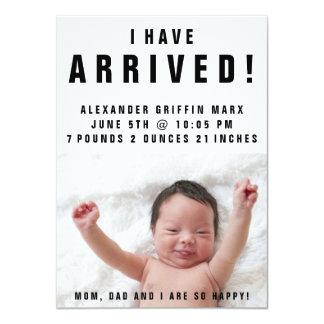 私は着かれた写真の赤ん坊の誕生の発表を有します 11.4 X 15.9 インビテーションカード