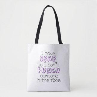 """""""私は石鹸""""の引用文のトートバック-紫色作ります トートバッグ"""