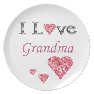 """""""私は祖母""""の収集できるプレートwのピンクのハート愛します プレート"""