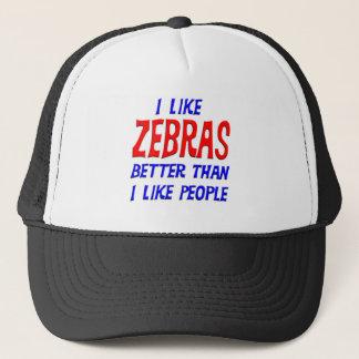 私は私が人々の帽子を好むよりよいシマウマを好みます キャップ