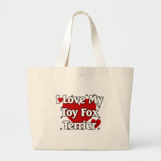 私は私のおもちゃのフォックステリア犬を愛します ラージトートバッグ