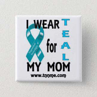 私は私のお母さんボタンのためのティール(緑がかった色)を身に着けています 5.1CM 正方形バッジ