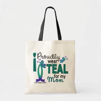 私は私のお母さん27の卵巣癌のためのティール(緑がかった色)を身に着けています トートバッグ