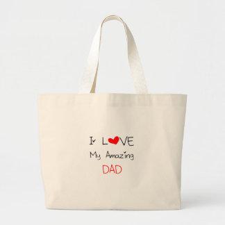私は私のすばらしいパパを愛します ラージトートバッグ